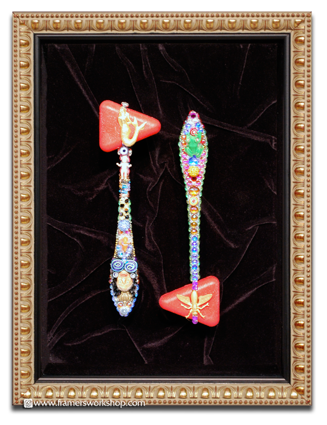 Hand Beaded Reflex Hammers in a deep shadow box frame