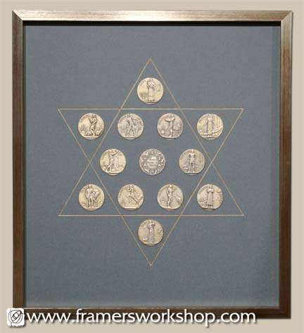Framing of Antique Coins Star of David