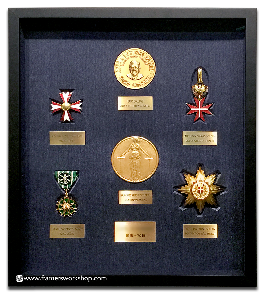 Collection of framed Medals, Medallions and Awards