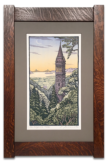 The Berkeley Campanille, signed and numbered letterpress print by Yoshiko Yamamoto